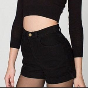 AMERICAN APPAREL High Waisted Denim Shorts Black